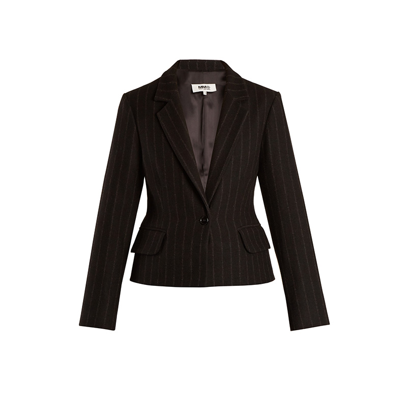 MM6 by Maison Margiela Detachable-Hem Striped Wool-Blend Coat
