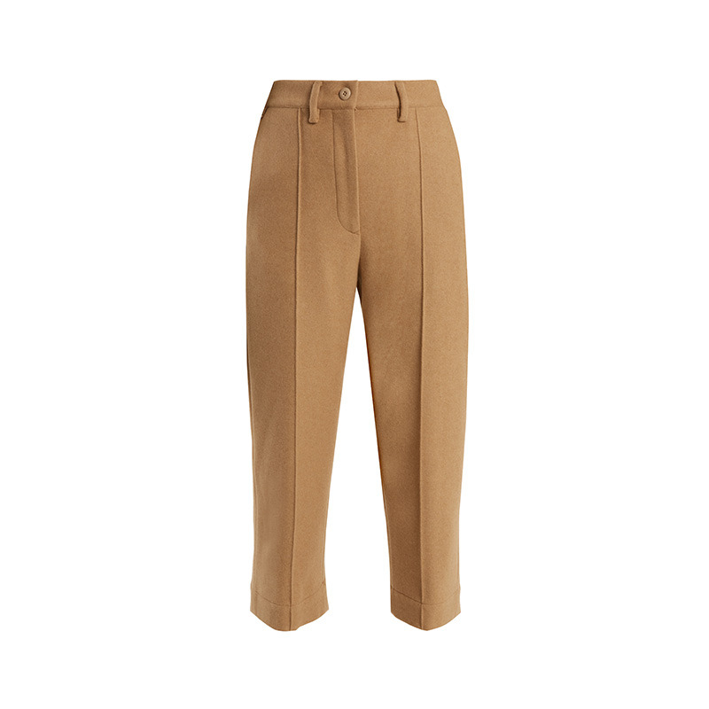 MM6 by Maison Margiela Mid-Rise Brushed Wool-Blend Cropped Trousers