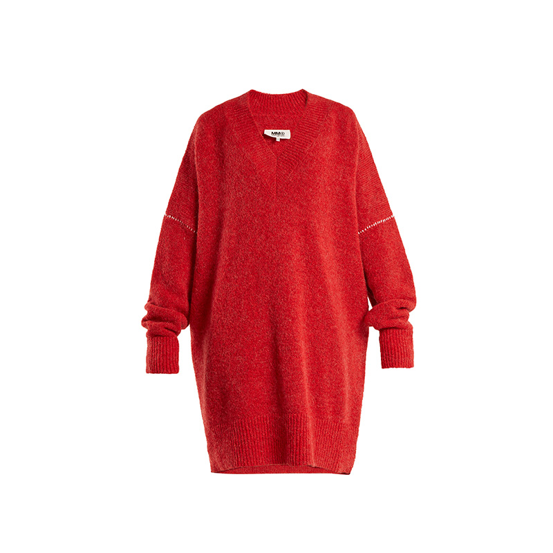 MM6 by Maison Margiela Oversized V-Neck Knit Dress