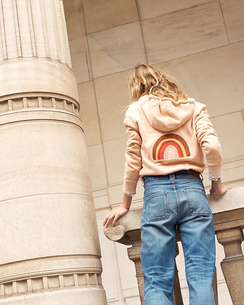Madewell Embroidered Rainbow Hoodie Sweatshirt