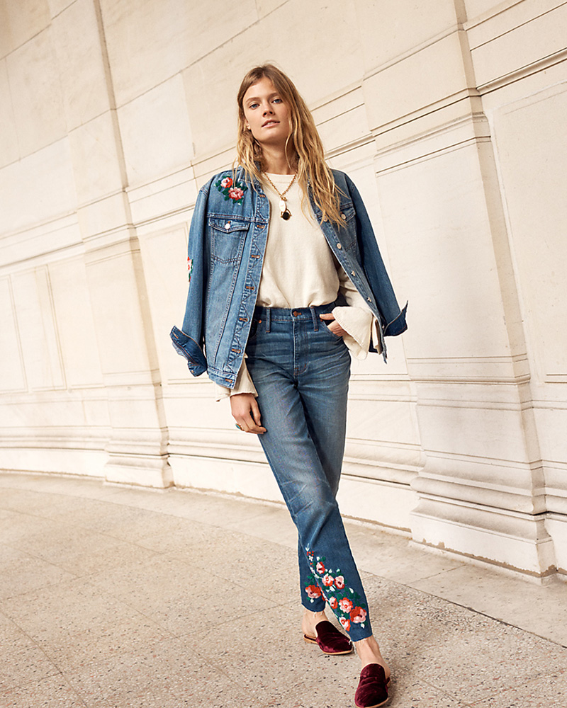 Madewell The High-Rise Slim Boyjean Embroidered Edition