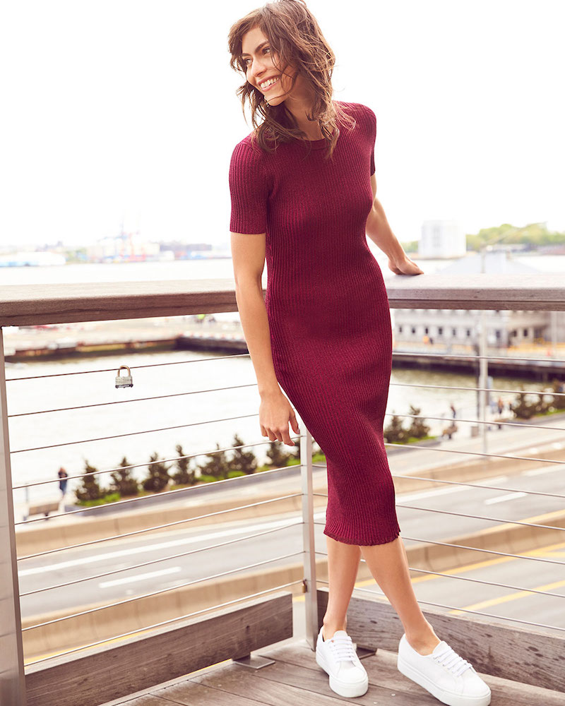 Milly Stardust Short-Sleeve Ribbed Sheath Dress