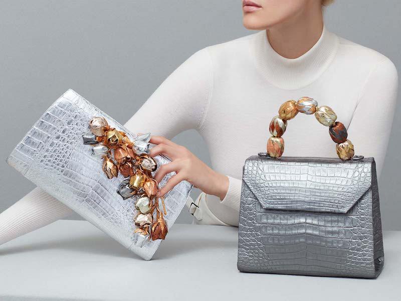 Nancy Gonzalez Medium Beaded Top-Handle Crocodile Bag