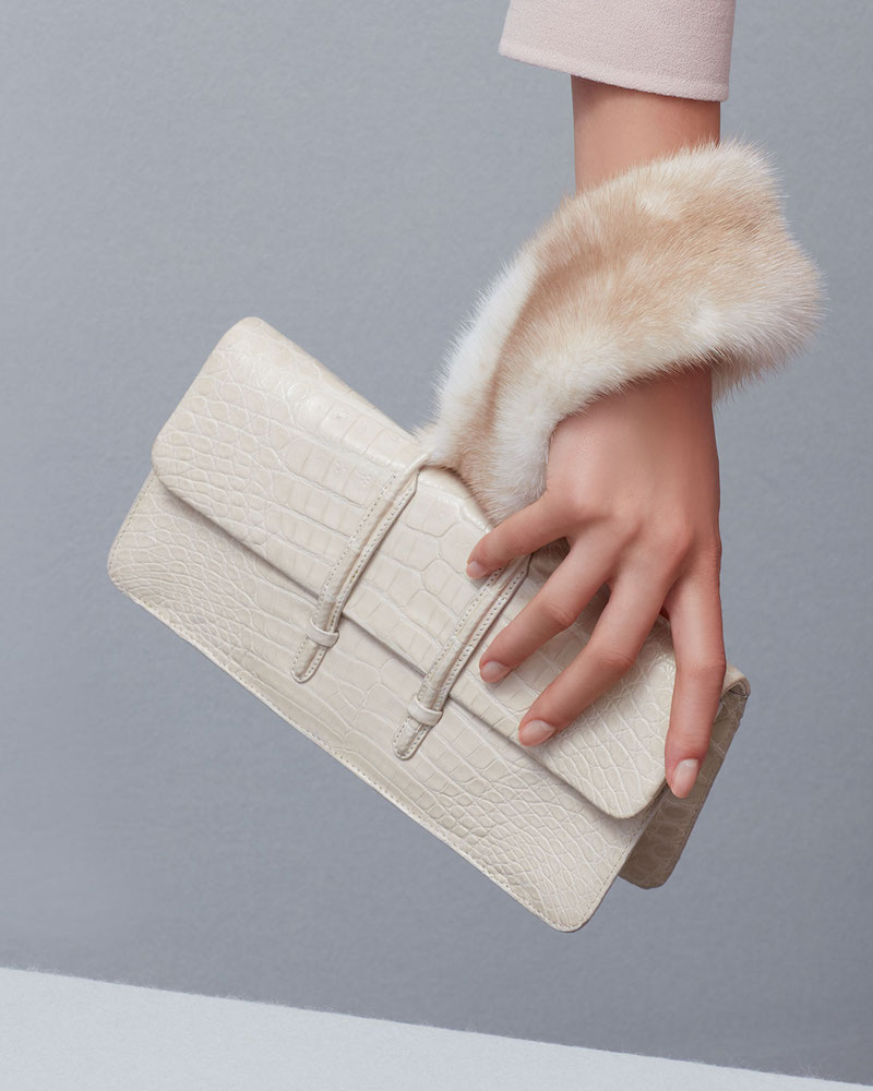 Nancy Gonzalez Mink-Trim Crocodile Clutch Bag