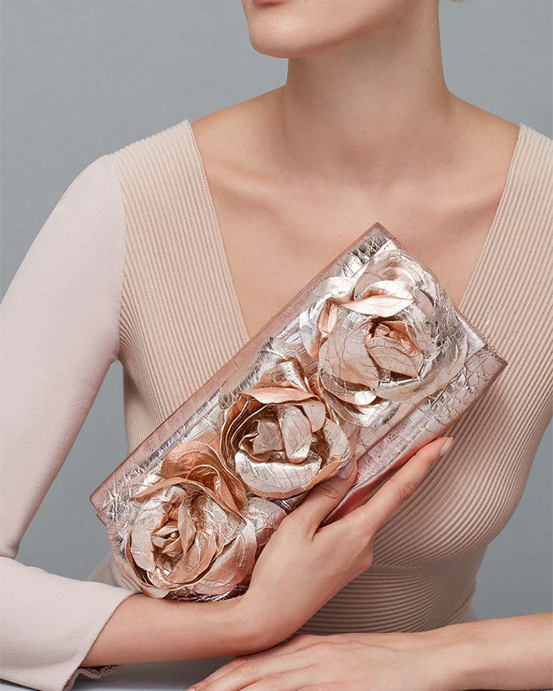 Nancy Gonzalez Rose Crocodile Flap Clutch Bag