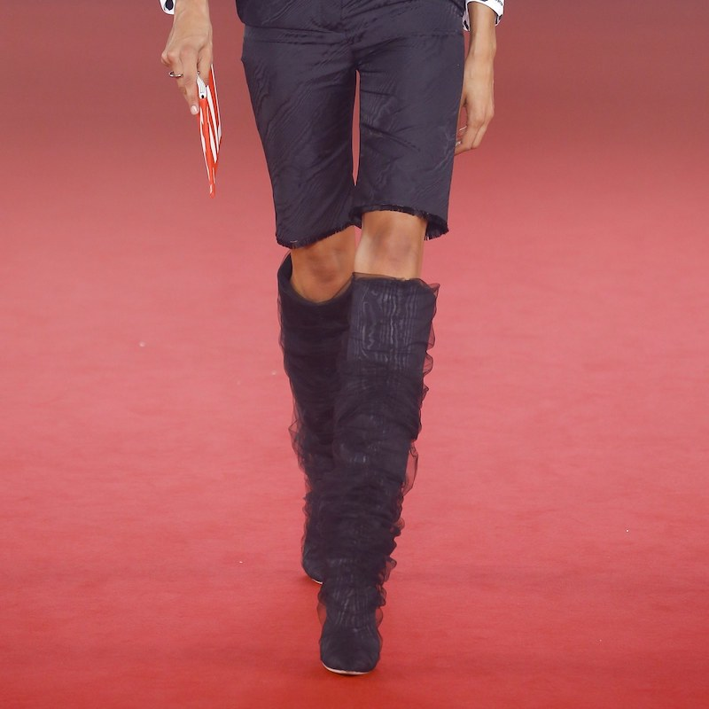 Off-White c/o Jimmy Choo Elisabeth 100 Knee High Boots with Ruched TPU