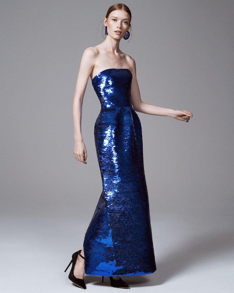 Oscar de la Renta Strapless Sequined Column Gown