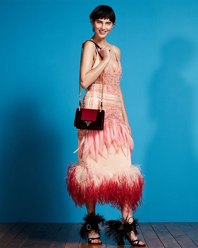 Prada Beaded Feather-Trim Midi Skirt