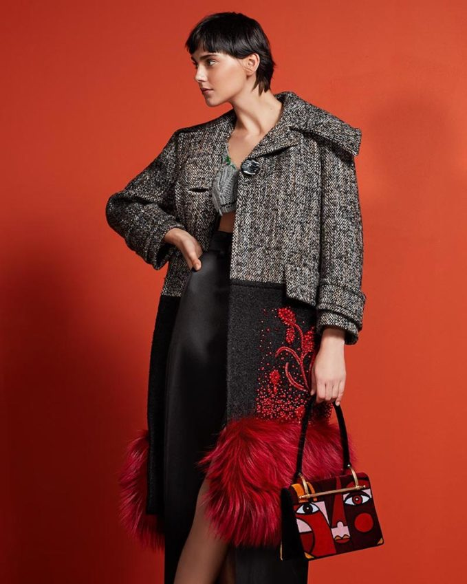 Prada Beaded Fur-Trim Colorblock Tweed Coat