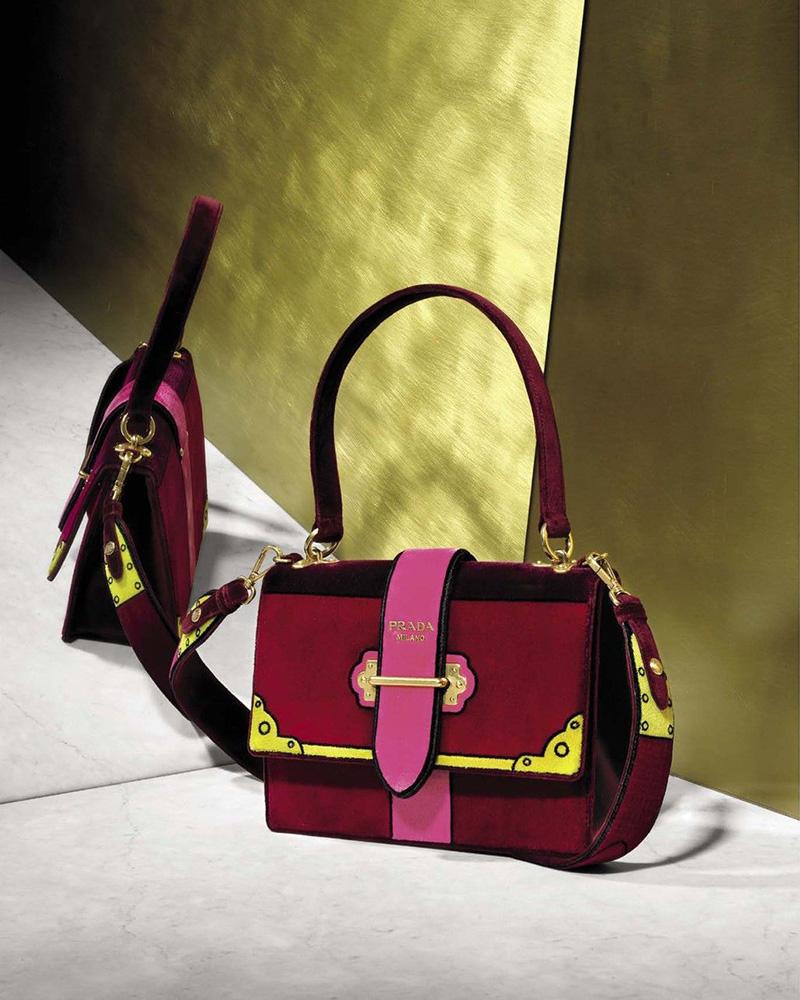 Prada Cahier Colorblock Velvet Handbag