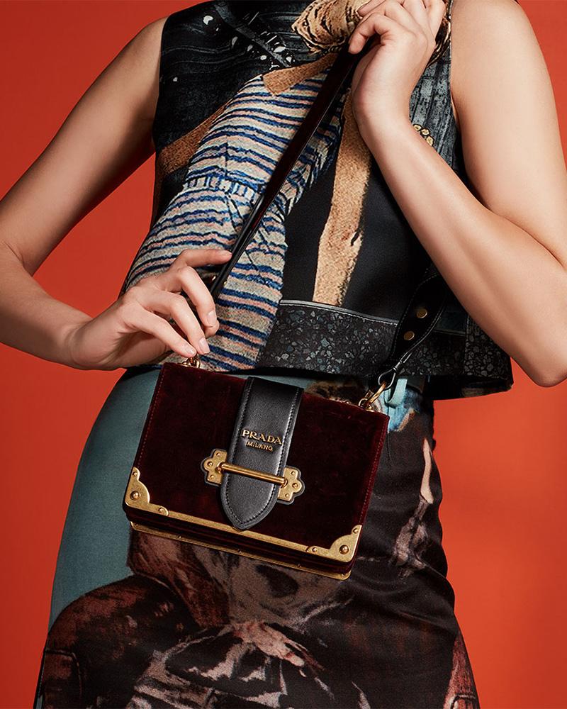 Prada Cahier Small Velvet Shoulder Bag