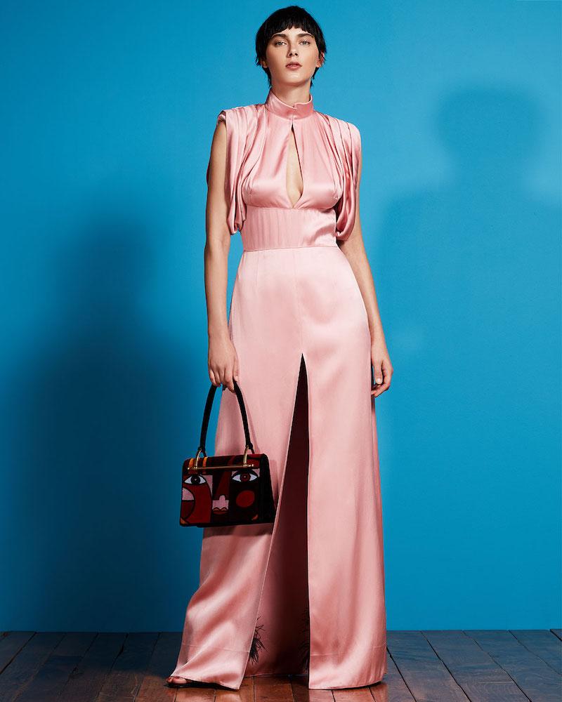 Prada Satin Drape-Shoulder Keyhole Gown