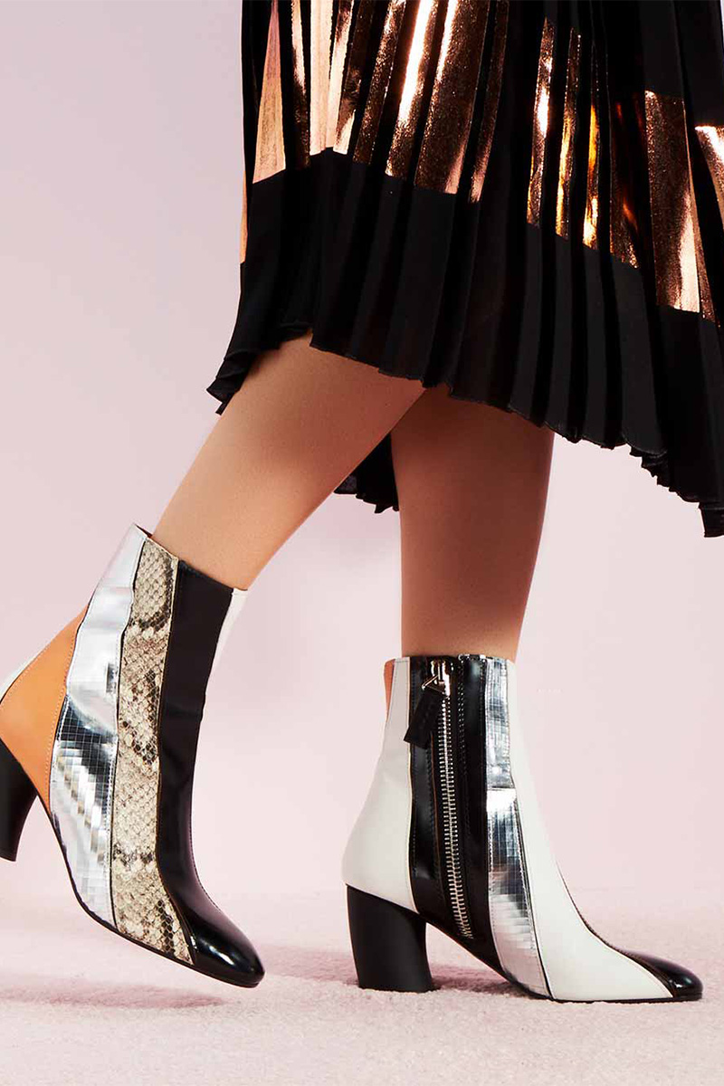 Proenza Schouler Patchwork Leather and Snake-Embossed Leather Boot