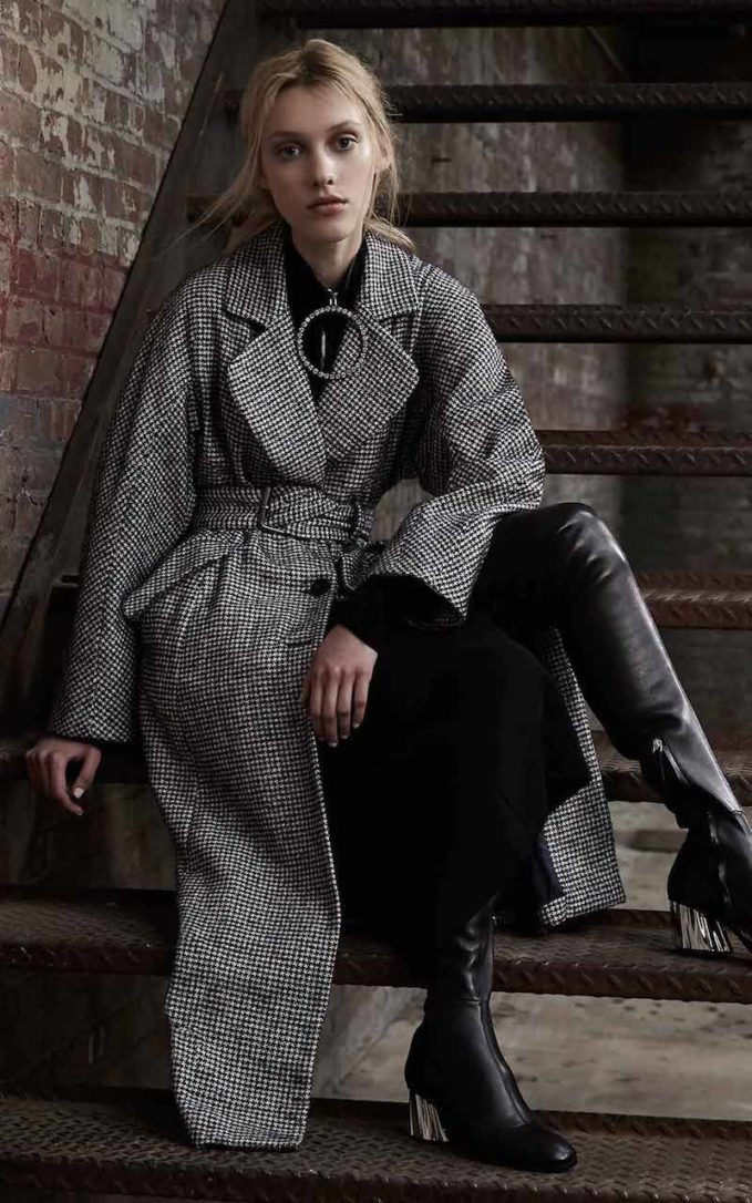 Rachel Comey Helm Houndstooth Belted Trench Coat