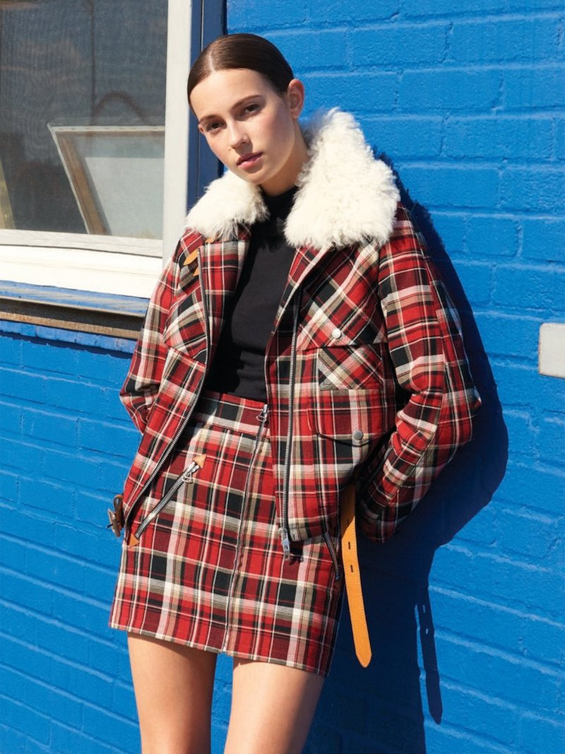 Rag & Bone Leah Cotton Plaid Mini Skirt with Leather Trim