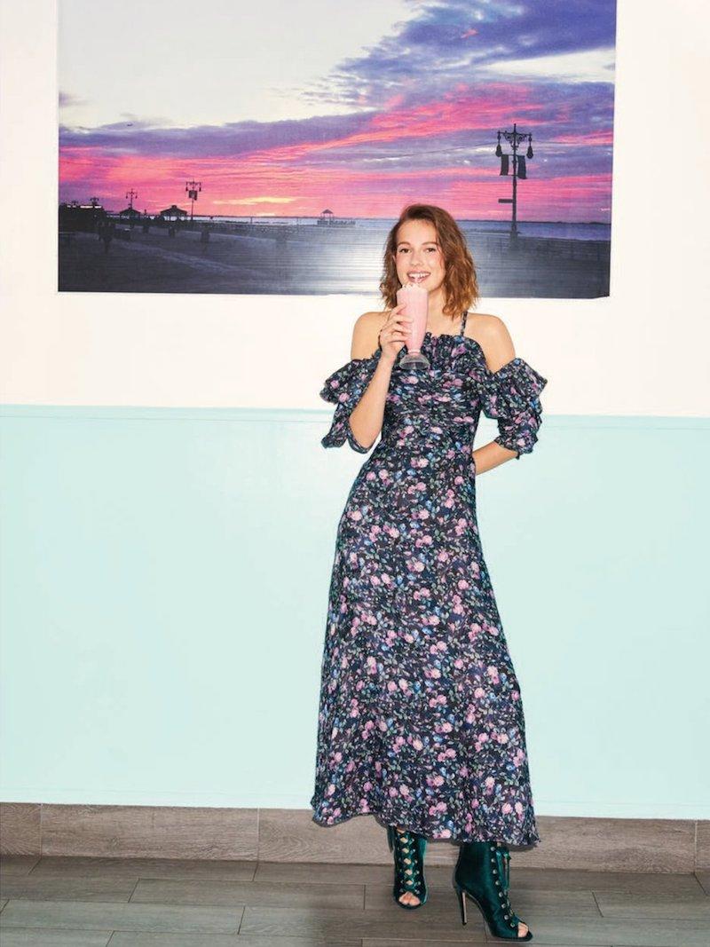 Rebecca Taylor Open-Shoulder Floral-Print Organza Dress