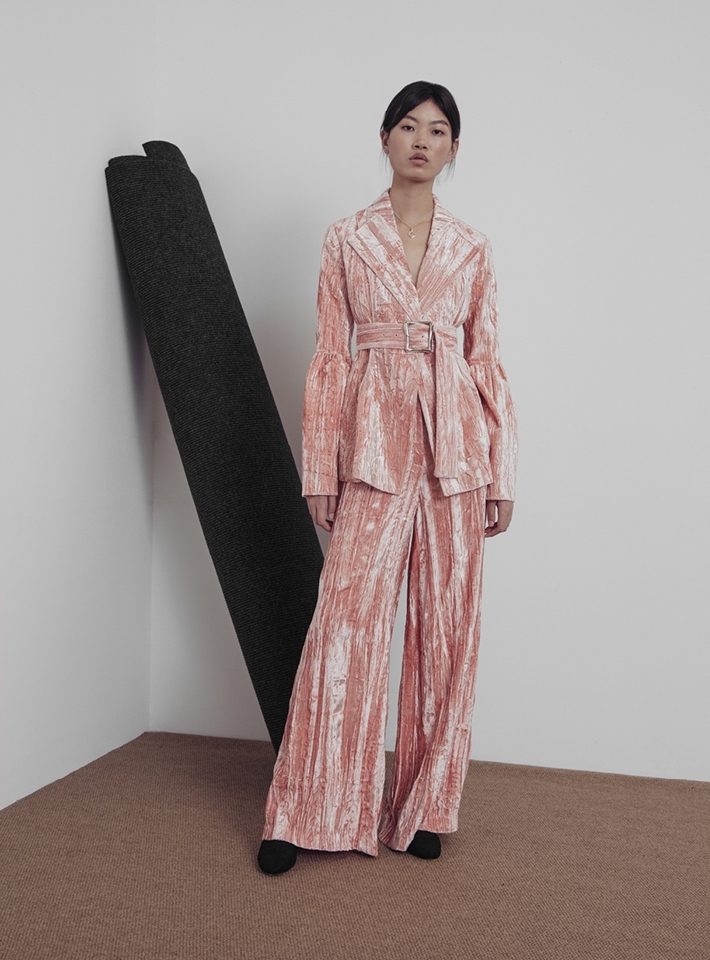 Rejina Pyo Beatrice Side Panel Detail Trousers in Pink Velvet