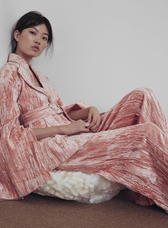 Rejina Pyo Claire Split Sleeve Jacket in Pink Velvet