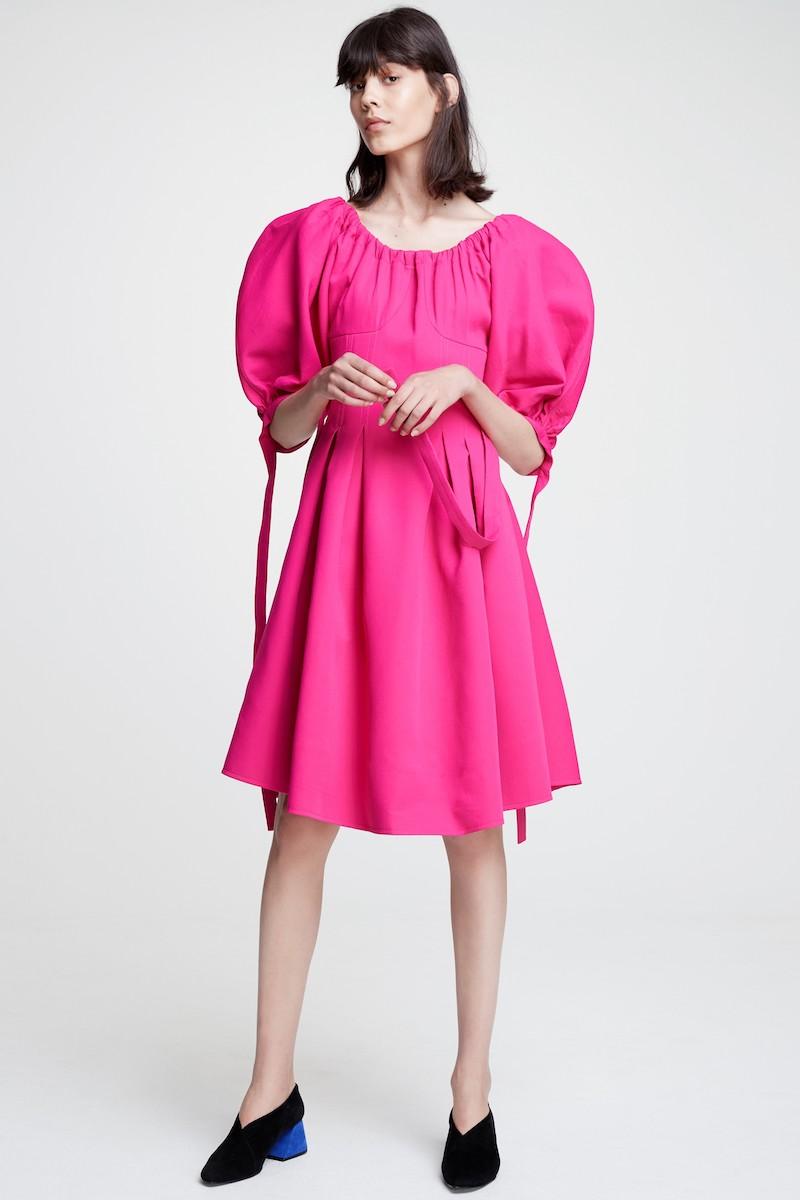 Rejina Pyo Greta Puff Sleeve Crepe Fit & Flare Dress