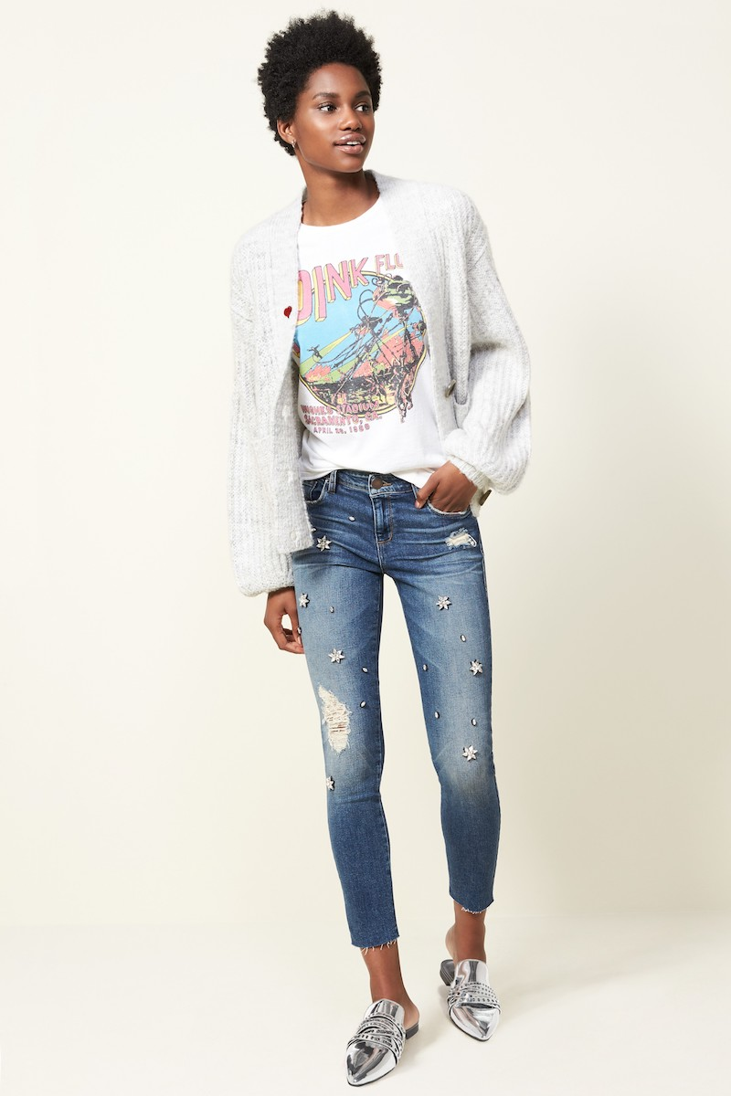 STS Blue Taylor Jeweled Crop Straight Leg Jeans