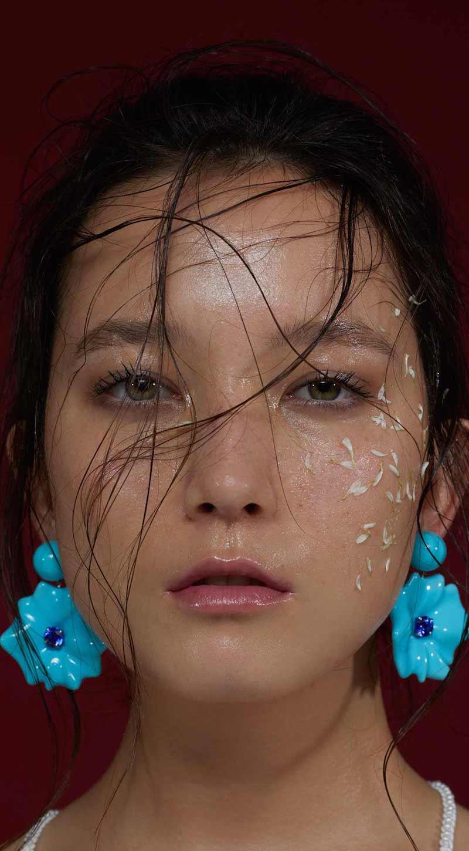 Sabbadini Round Tanzanite Blue Flower Drop Earrings