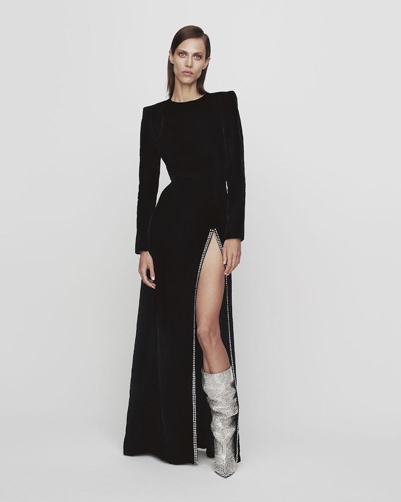 Saint Laurent Crystal-Embellished Slit-Front Velvet Gown
