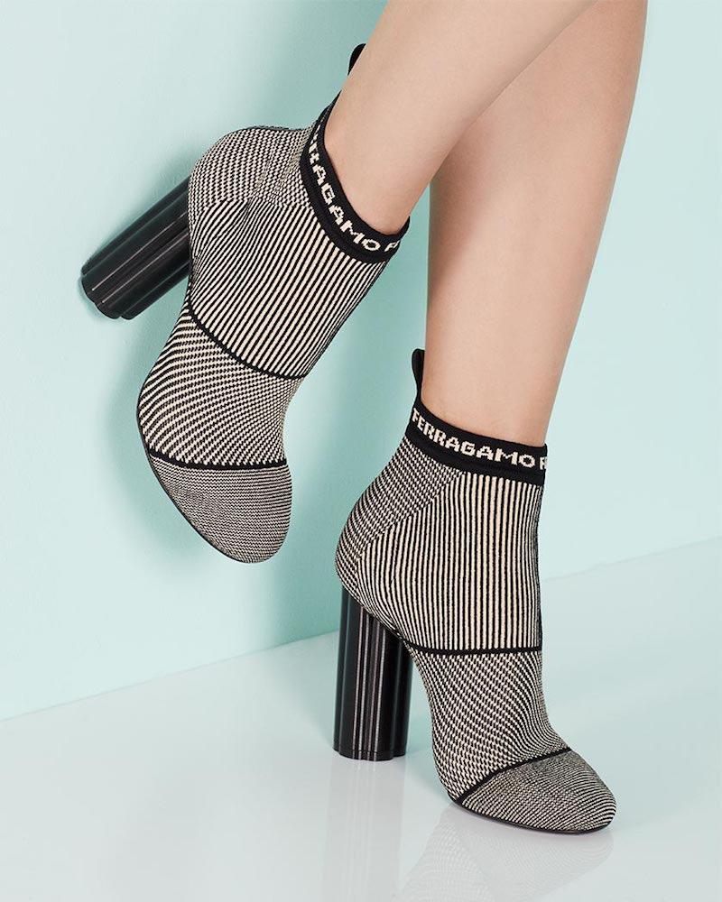 Salvatore Ferragamo Logo Stretch Fabric Ankle Boot