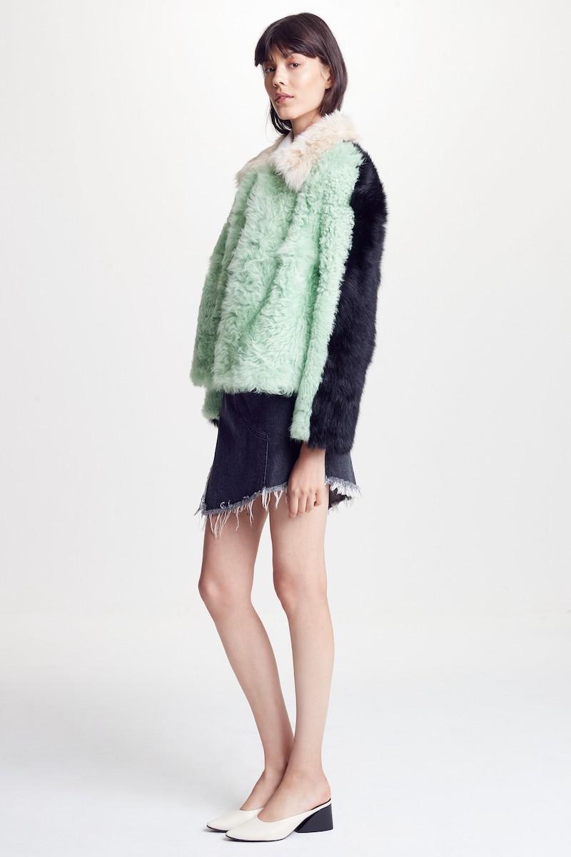 Sandy Liang Cashew Genuine Shearling Coat