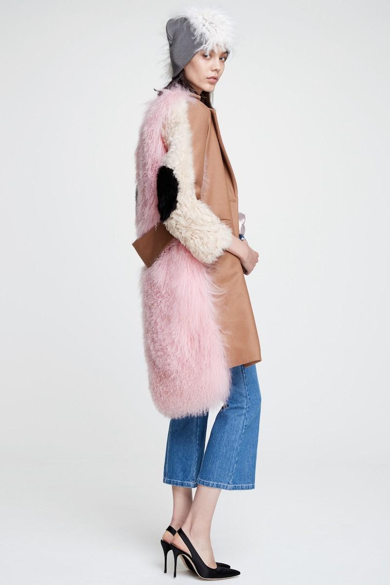 Sandy Liang Mingo Wool Blend & Genuine Shearling Coat