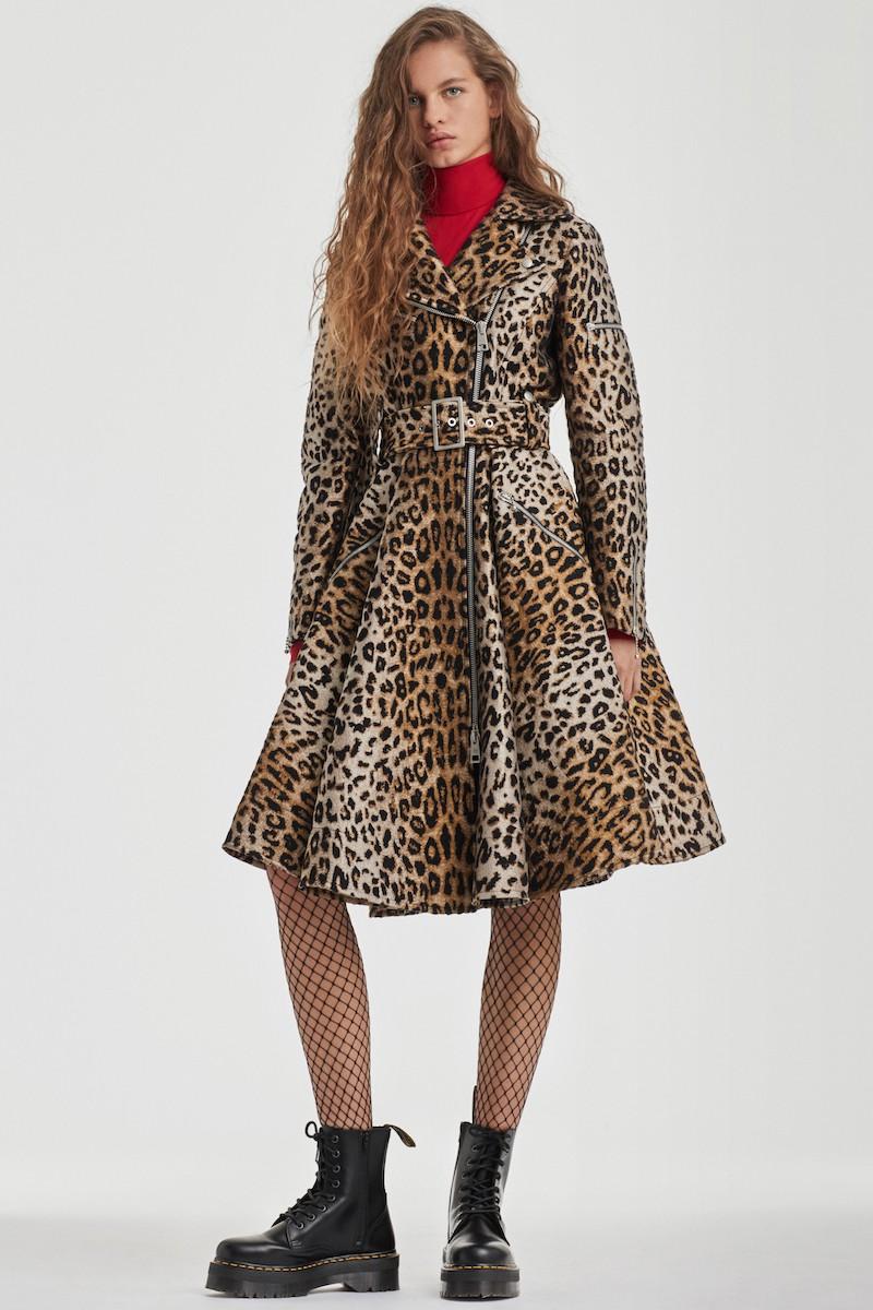 Sara Battaglia Leopard Jacquard Trench Coat
