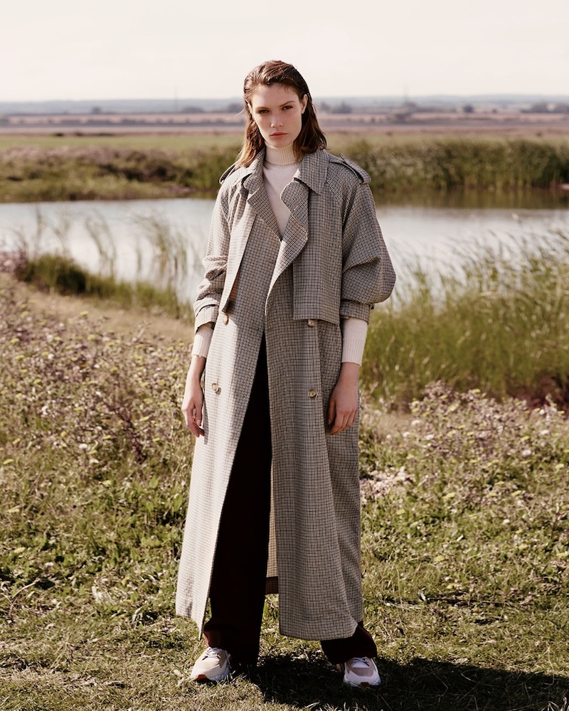 Stella McCartney Cecile Oversized Hound s-Tooth Wool Trench Coat