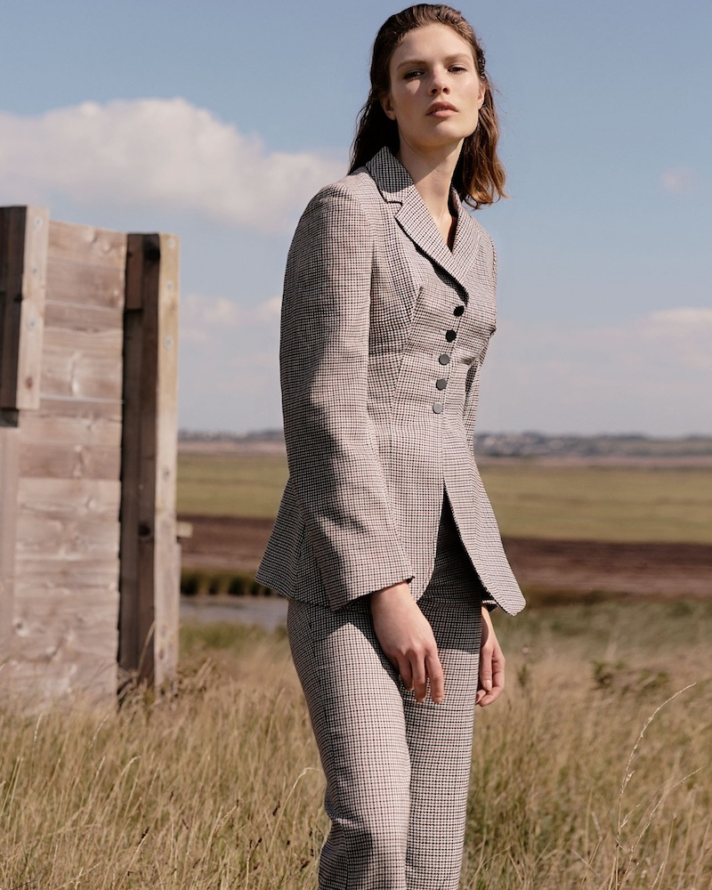Stella McCartney Gael Notch-Lapel Hound s-Tooth Checked Jacket