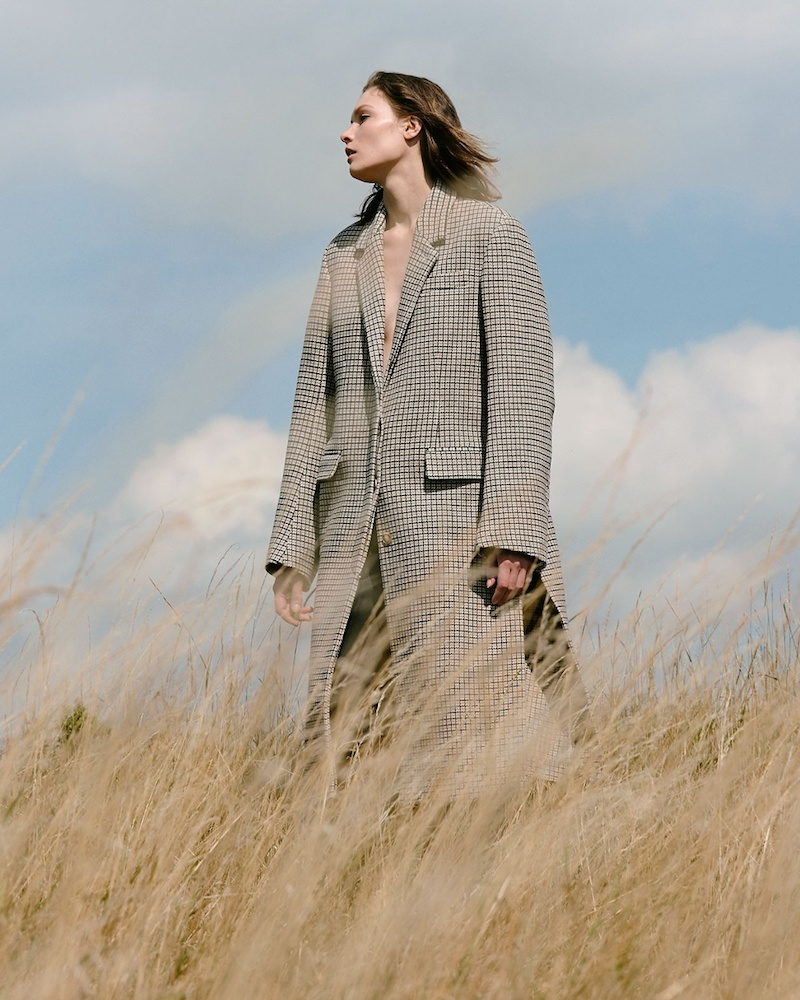 Stella McCartney Harper Notch-Lapel Checked Coat