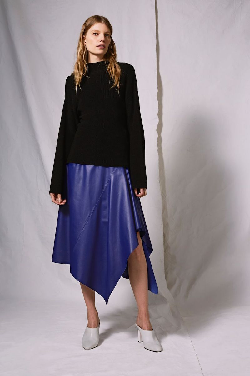 Topshop Boutique Cobalt Leather Skirt