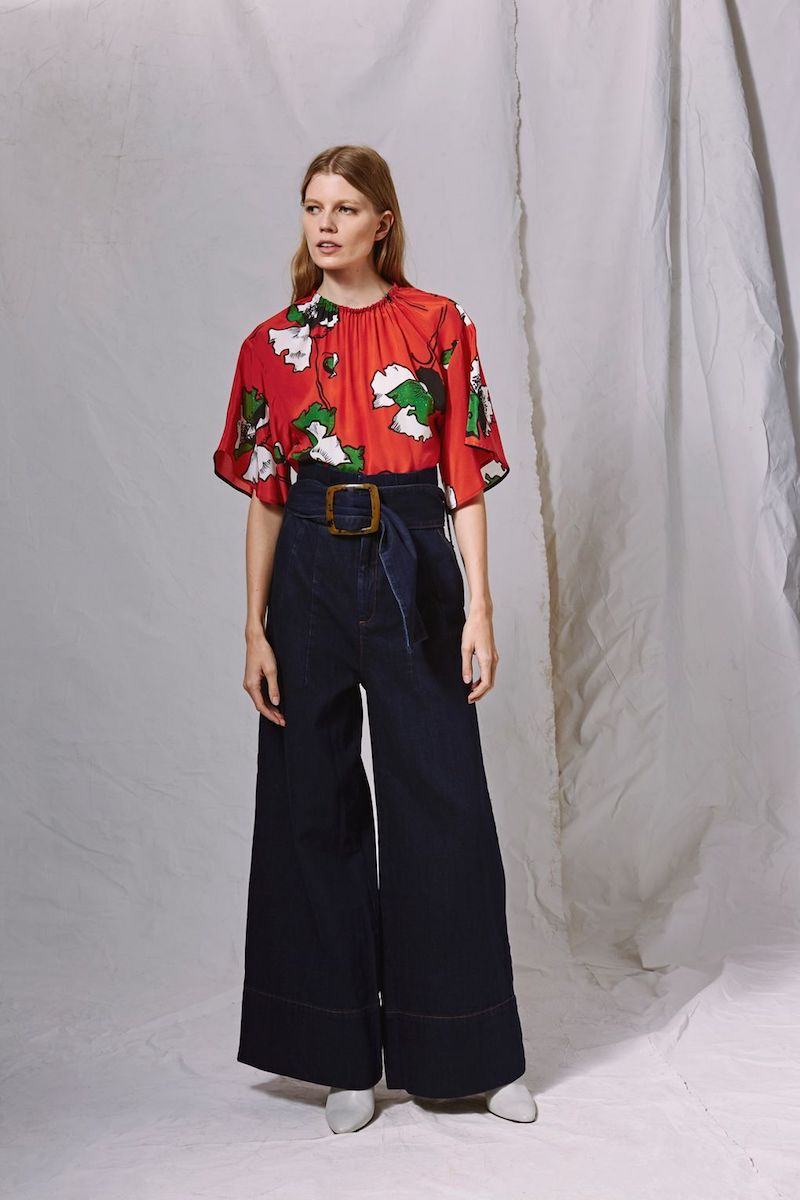 Topshop Boutique Silk Poppy Blouse