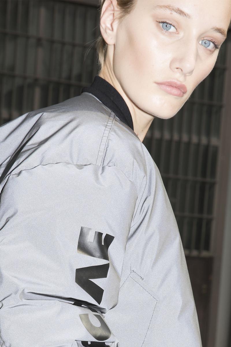 Unravel Cropped Reflective Nylon Bomber Jacket