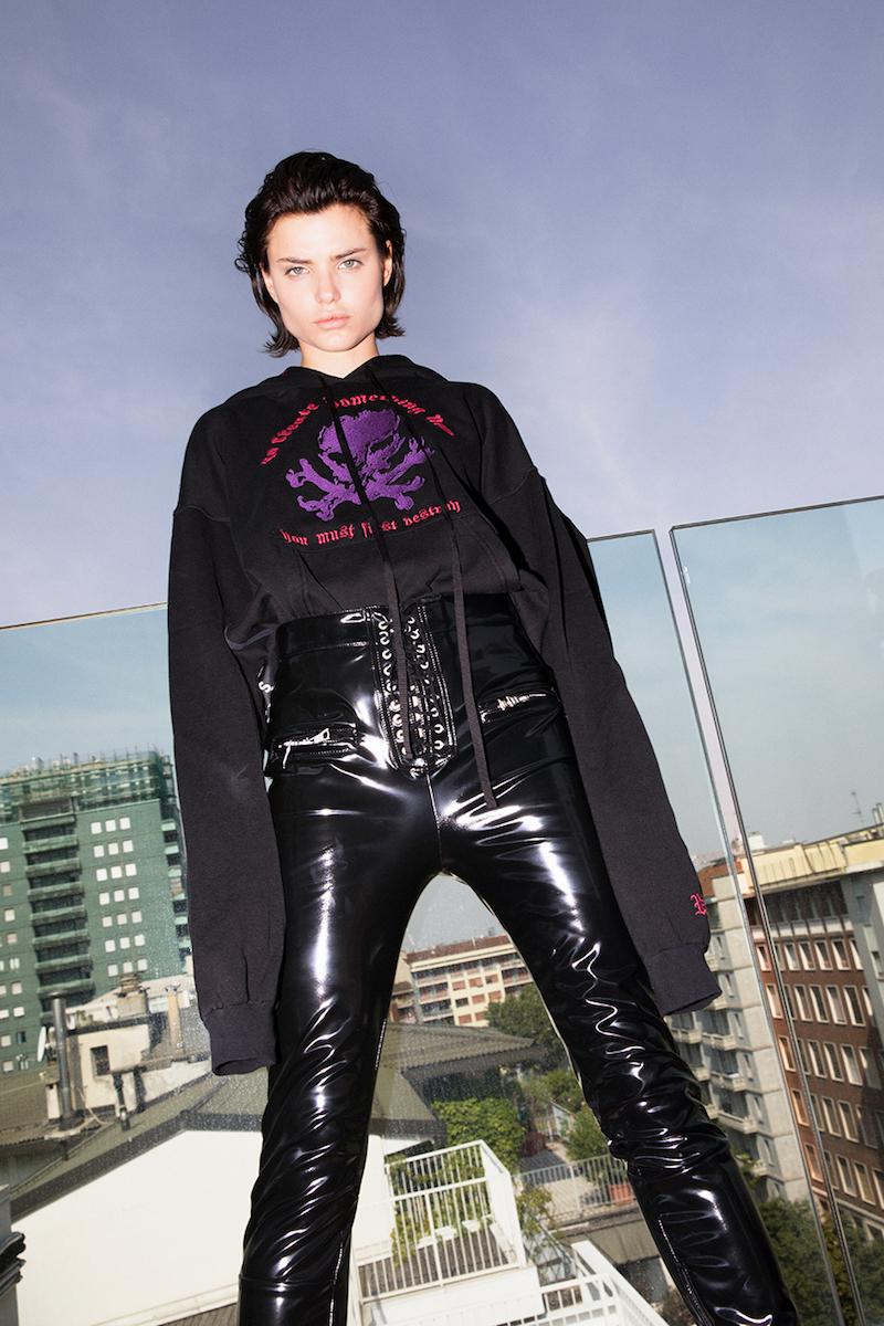 Unravel Lace-Up Faux Patent Leather Pants