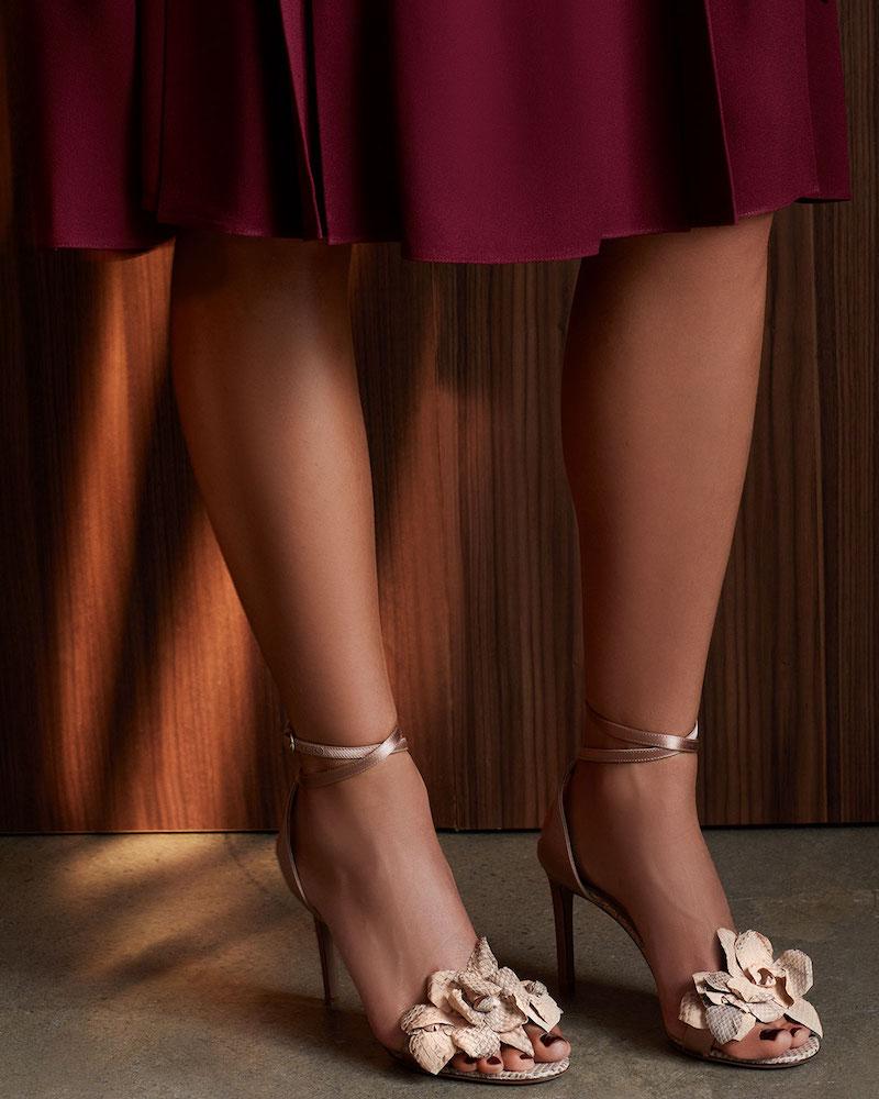 Valentino Garavani 3D Flower Snakeskin Sandal