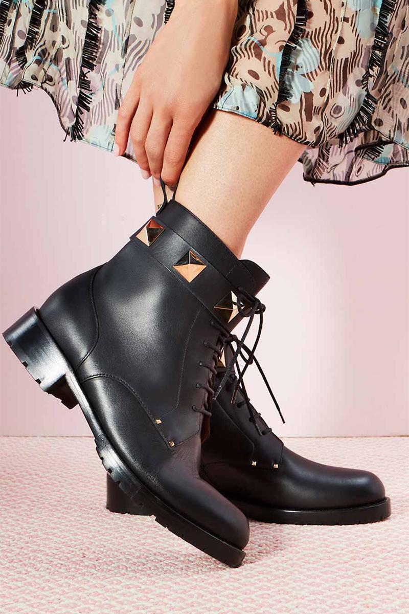 3364d5a71b051 Valentino Garavani Rockstud Leather Combat Boots