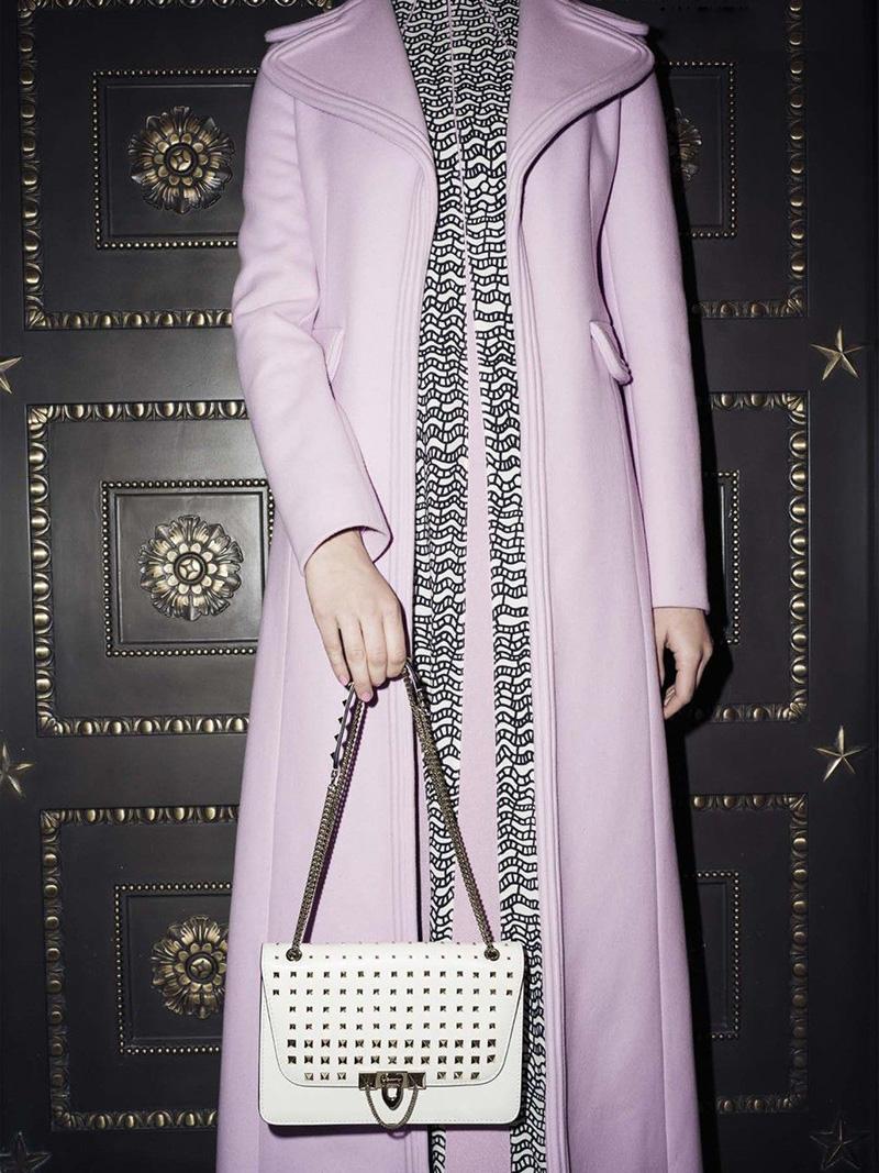 Valentino Garavani Small Demi Lune Studded Leather Chain Shoulder Bag