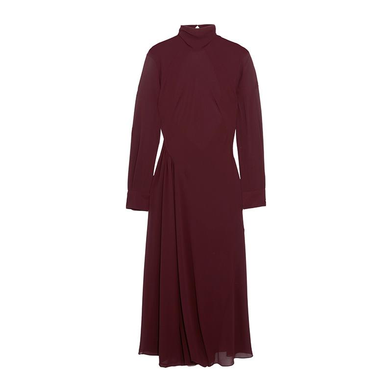Victoria Beckham Gathered Georgette Turtleneck Midi Dress