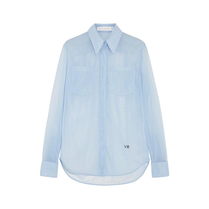Victoria Beckham Poplin-Trimmed Mesh Shirt