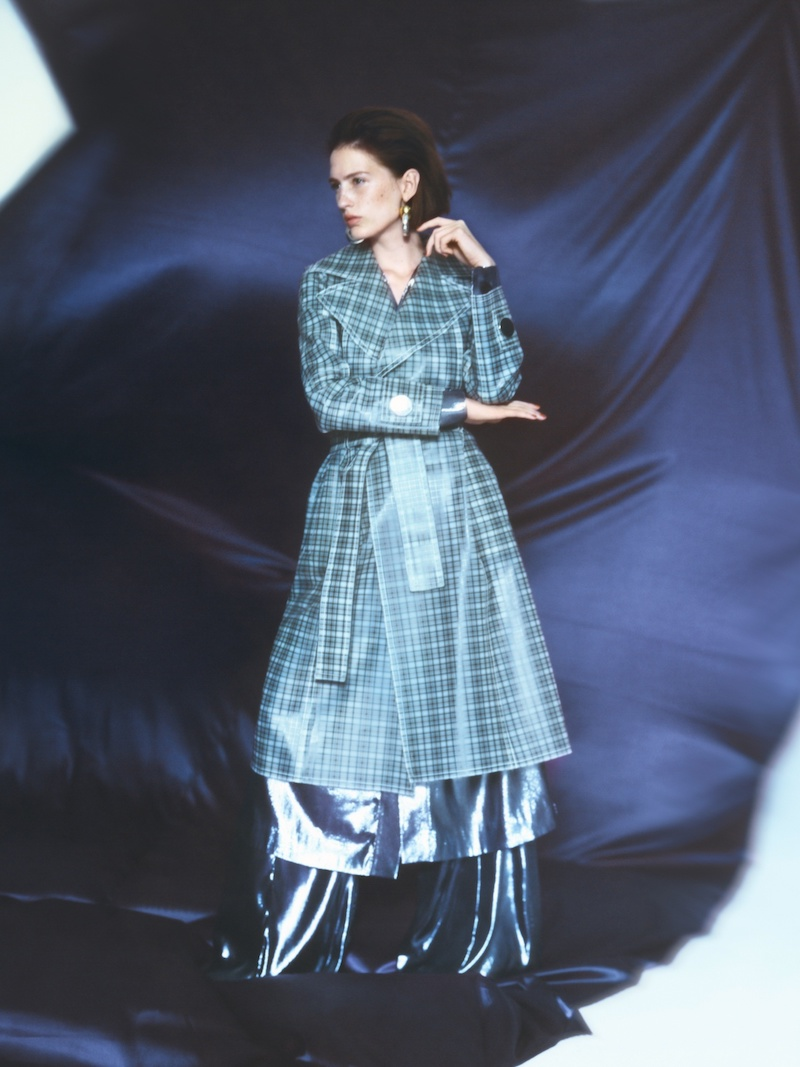 Wanda Nylon Tie-Waist Coated-Tartan Trench Coat