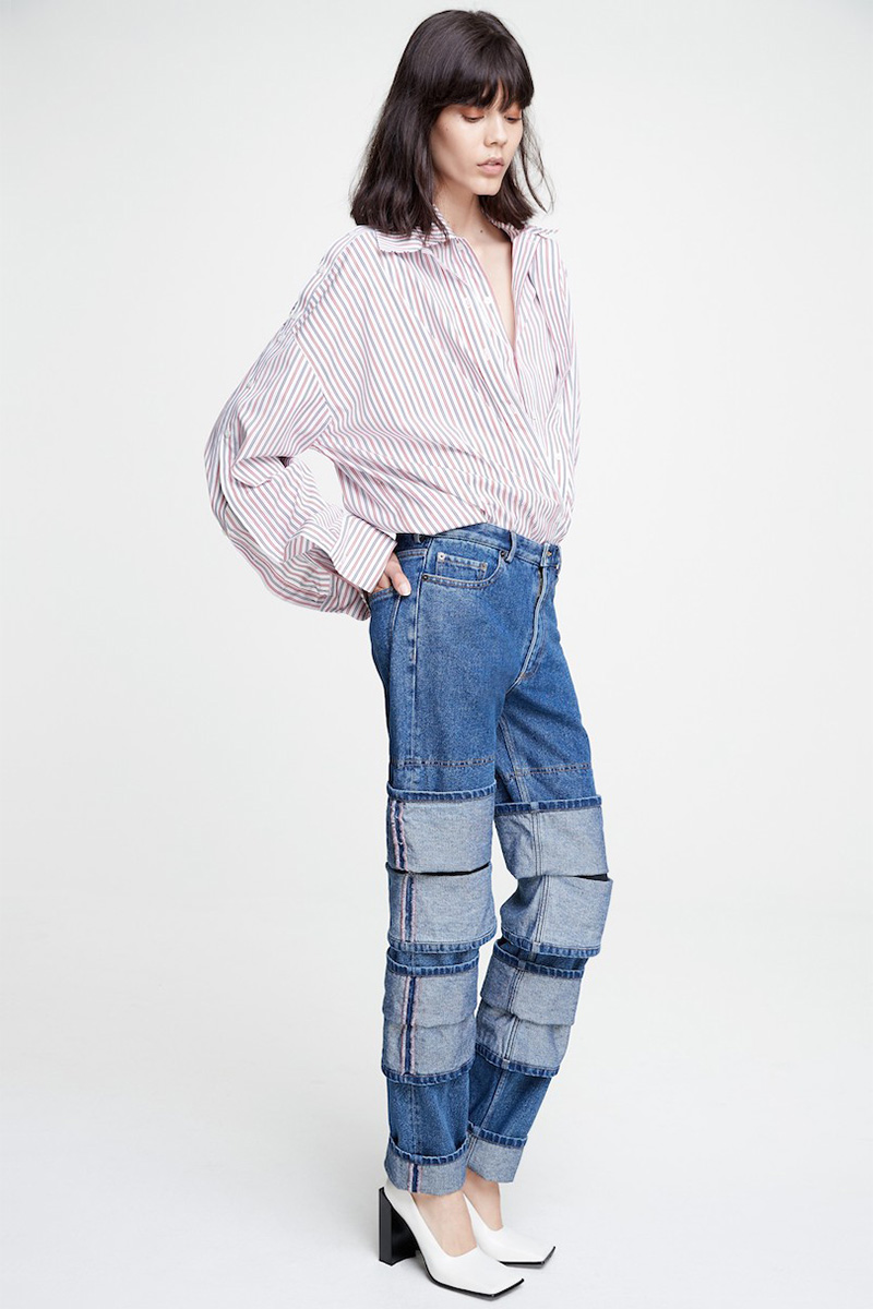 Y/PROJECT Double Layer Pinstripe Blouse