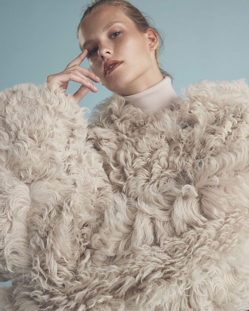 Acne Studios Lune Oversized Shearling Coat