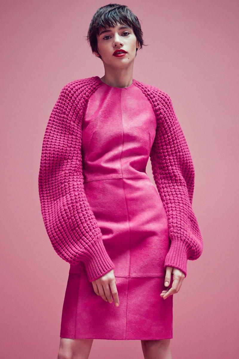 Akris Sheath Dress with Waffle-knit Cashmere Sleeves