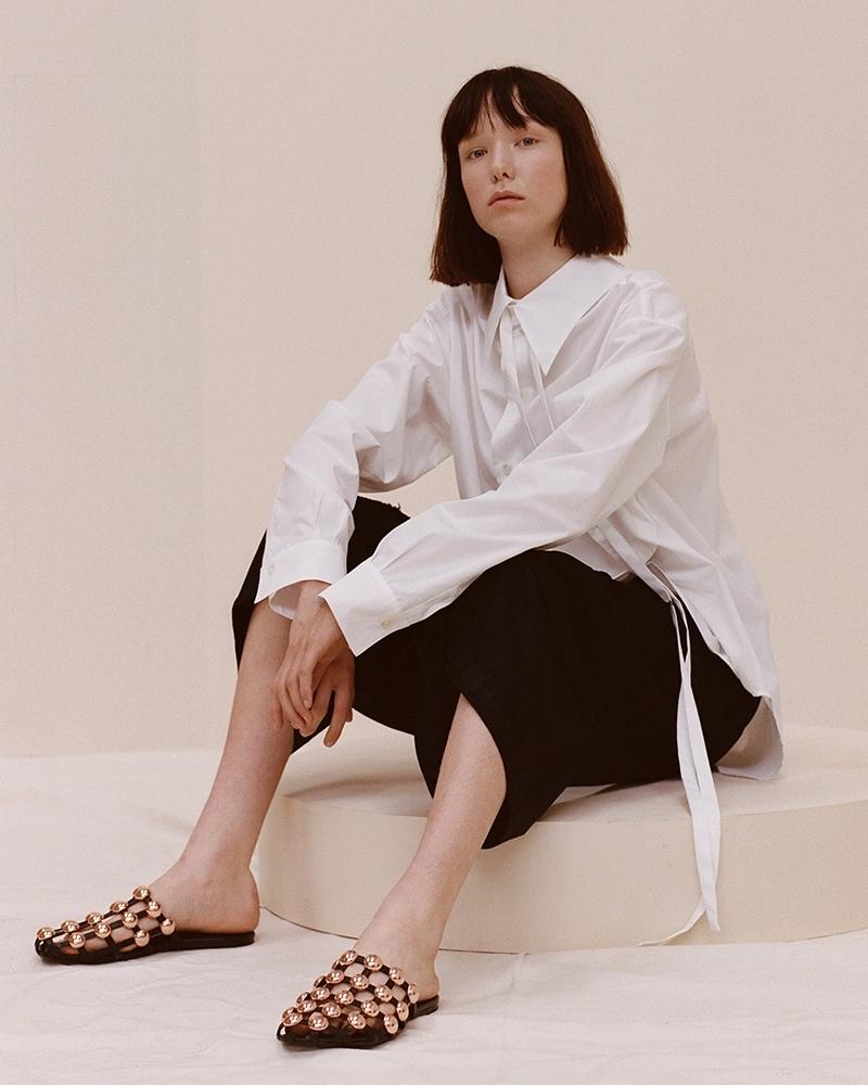 Ann Demeulemeester Reverse-Collar Cotton-Poplin Shirt