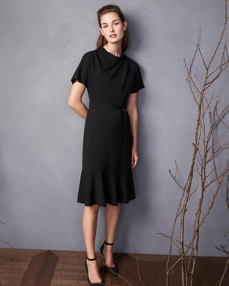 Ann Taylor Drape Neck Flare Dress