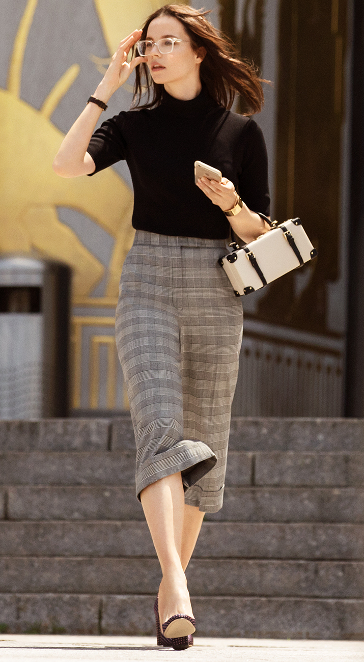 Anne Klein Houndstooth Plaid Cuffed Trouser