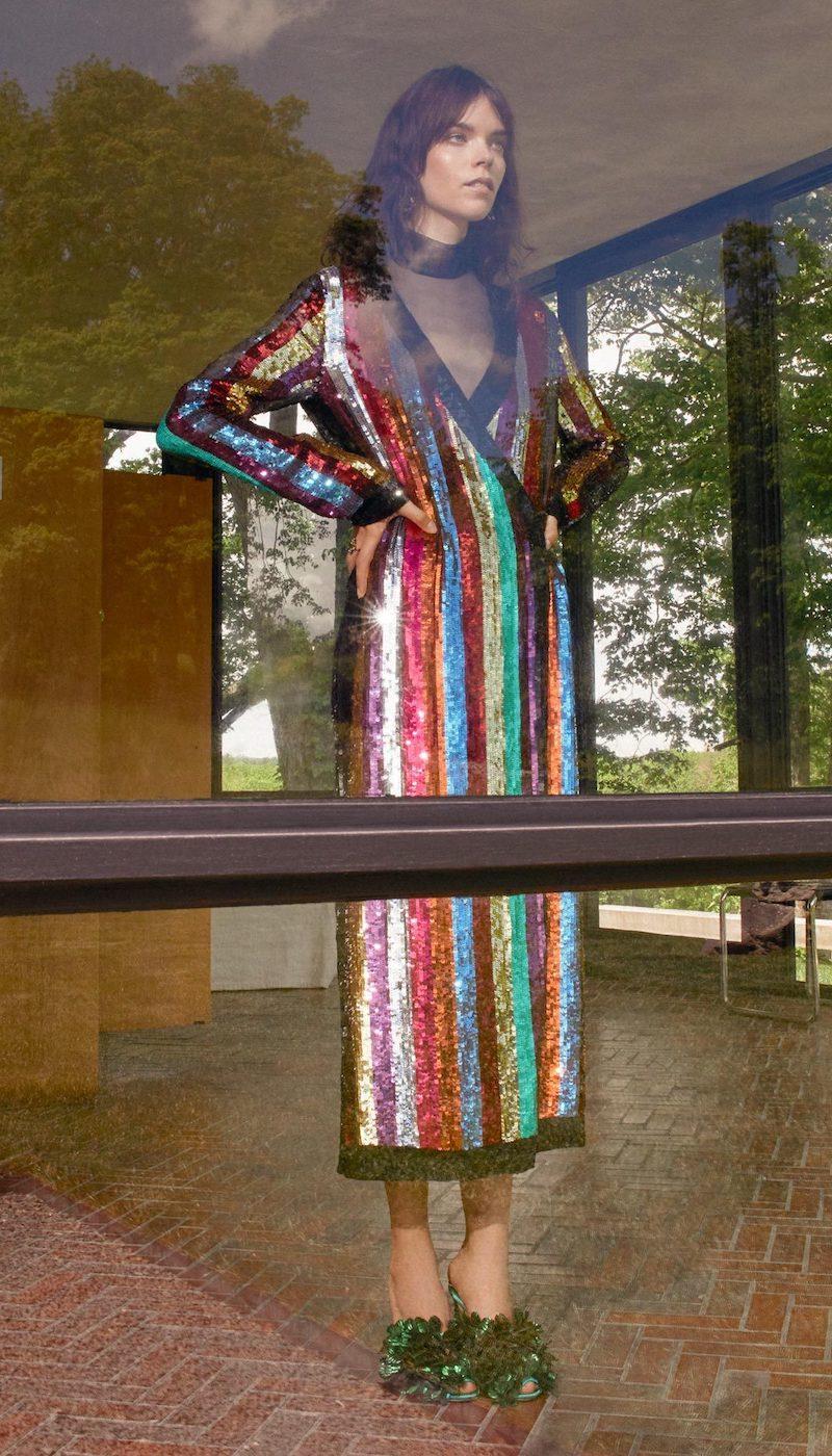 Attico Grace Sequined Wrap Dress
